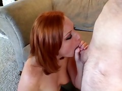 cute freckleface redhead daughter practices