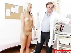 old doctor checks juvenile blond angel venus