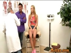 daddy drilled daughter in front of doctor