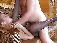 youthful blond in hose receives slammed by mature