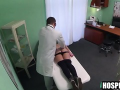 foxy blond patient getting massaged by her doctor