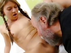 anna has her bald pussy eaten out by her mature