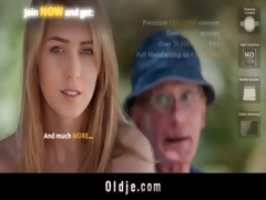 excited old dude bangs with cute brunette playgirl