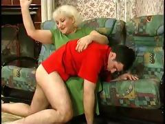 youthful bushy dude copulates old hag