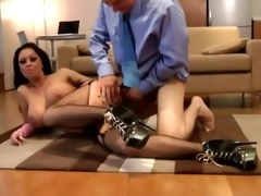 aged chap fucks a sexy younger stocking wench