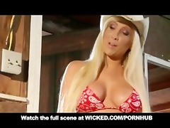 golden-haired cowgirl with large pantoons &