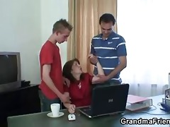 daddy and son group-sex old slut
