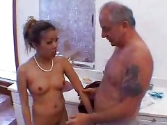 grandad blown by hot oriental beauty in shower 5